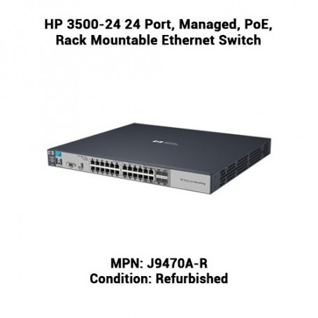 HP 3500-24 24 Port, Managed, PoE, Rack Mountable Ethernet Switch