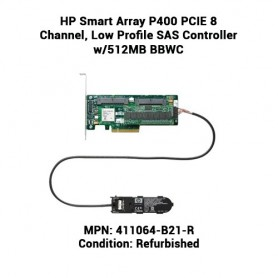 HP Smart Array P400 PCIE 8 Channel, Low Profile SAS Controller w/512MB BBWC