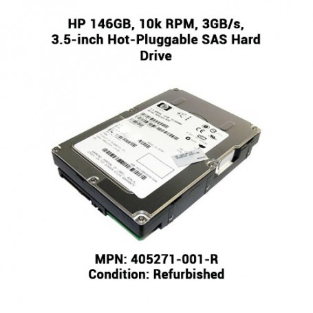 HP 146GB, 10k RPM, 3GB/s, 3.5-inch Hot-Pluggable SAS Hard Drive