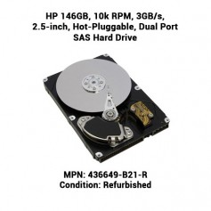 HP 146GB, 10k RPM, 3GB/s, 2.5-inch, Hot-Pluggable, Dual Port SAS Hard Drive