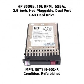 HP 300GB, 10k RPM,  6GB/s, 2.5-inch, Hot-Pluggable, Dual Port SAS Hard Drive