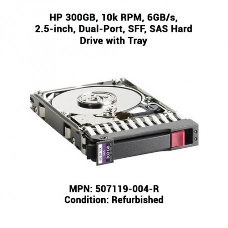 HP 300GB, 10k RPM, 6GB/s, 2.5-inch, Dual-Port, SFF, SAS Hard Drive with Tray