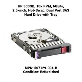 HP 300GB, 10k RPM, 6GB/s, 2.5-inch, Hot-Swap, Dual Port SAS Hard Drive with Tray