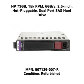 HP 73GB, 15k RPM, 6GB/s, 2.5-inch, Hot-Pluggable, Dual Port SAS Hard Drive