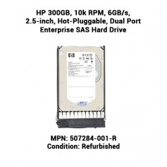 HP 300GB, 10k RPM, 6GB/s, 2.5-inch, Hot-Pluggable, Dual Port Enterprise SAS Hard Drive