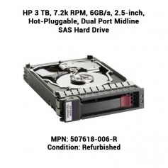 HP 3 TB, 7.2k RPM, 6GB/s, 2.5-inch, Hot-Pluggable, Dual Port Midline SAS Hard Drive