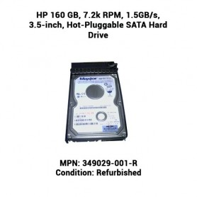 HP 160 GB, 7.2k RPM, 1.5GB/s, 3.5-inch, Hot-Pluggable SATA Hard Drive