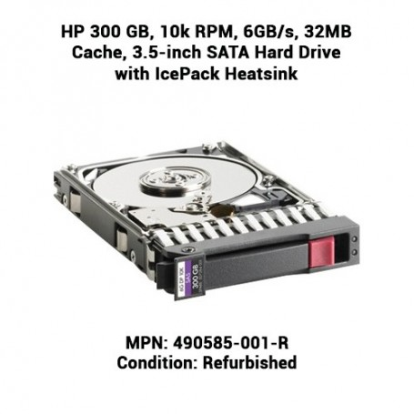 HP 300 GB, 10k RPM, 6GB/s, 32MB Cache, 3.5-inch SATA Hard Drive with IcePack Heatsink