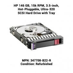HP 146 GB, 15k RPM, 3.5-inch, Hot-Pluggable, Ultra-320 SCSI Hard Drive with Tray
