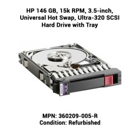 HP 146 GB, 15k RPM, 3.5-inch, Universal Hot Swap, Ultra-320 SCSI Hard Drive with Tray