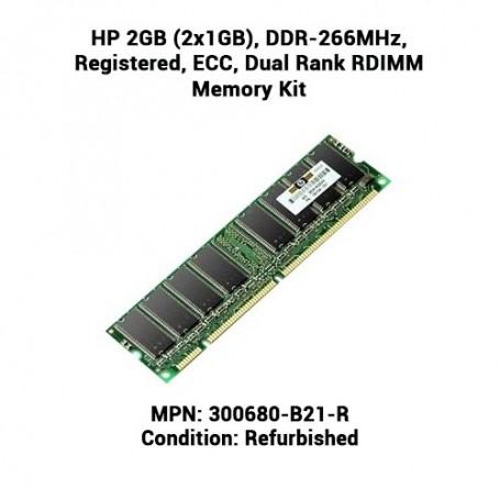 HP 2GB (2x1GB), DDR-266MHz, Registered, ECC, Dual Rank RDIMM Memory Kit