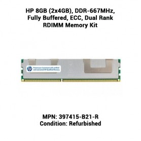 HP 8GB (2x4GB), DDR-667MHz, Fully Buffered, ECC, Dual Rank RDIMM Memory Kit
