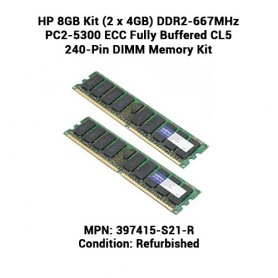 HP 8GB Kit (2 x 4GB) DDR2-667MHz PC2-5300 ECC Fully Buffered CL5 240-Pin DIMM Memory Kit