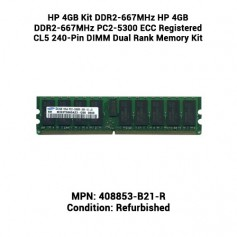 HP 4GB Kit DDR2-667MHz HP 4GB DDR2-667MHz PC2-5300 ECC Registered CL5 240-Pin DIMM Dual Rank Memory Kit