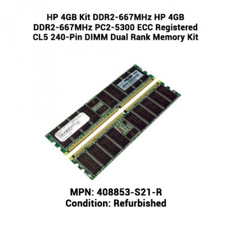 HP 4GB Kit (2 x 2GB) DDR2-667MHz PC2-5300 ECC Registered CL5 240-Pin DIMM Memory