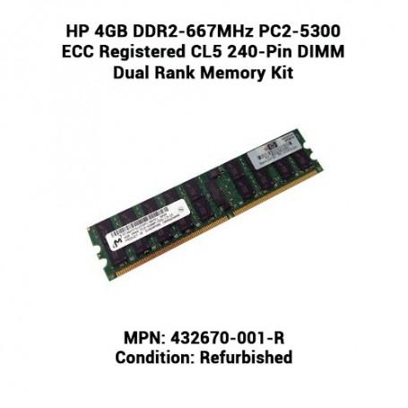 HP 4GB DDR2-667MHz PC2-5300 ECC Registered CL5 240-Pin DIMM Dual Rank Memory Kit