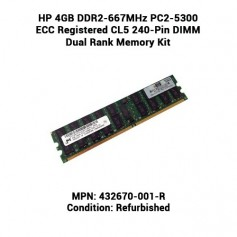 HP 4GB DDR2-667MHz PC2-5300 ECC Registered CL5 240-Pin DIMM Dual Rank Memory Kit