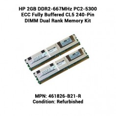 HP 2GB DDR2-667MHz PC2-5300 ECC Fully Buffered CL5 240-Pin DIMM Dual Rank Memory Kit