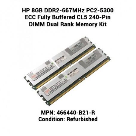 HP 8GB DDR2-667MHz PC2-5300 ECC Fully Buffered CL5 240-Pin DIMM Dual Rank Memory Kit