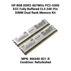 HP 8GB DDR2-667MHz PC2-5300 ECC Fully Buffered CL5 240-Pin DIMM Dual Rank Memory Kit