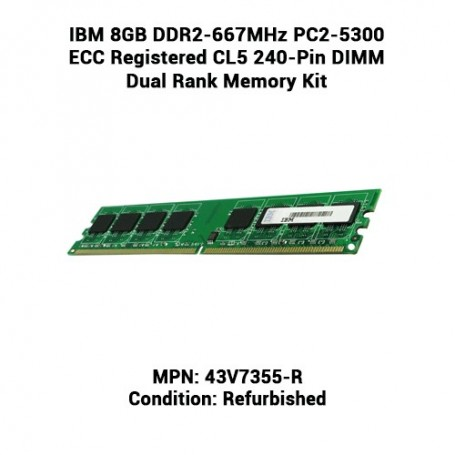 IBM 8GB DDR2-667MHz PC2-5300 ECC Registered CL5 240-Pin DIMM Dual Rank Memory Kit