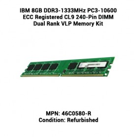 IBM 8GB DDR3-1333MHz PC3-10600 ECC Registered CL9 240-Pin DIMM Dual Rank VLP Memory Kit