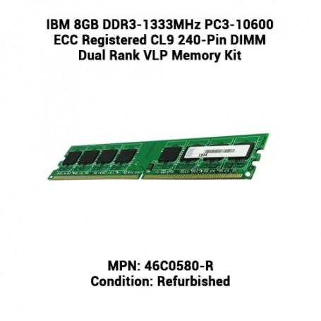 IBM 8GB DDR3-1333MHz PC3-10600 ECC Registered CL9 240-Pin DIMM Dual Rank VLP Memory Kit