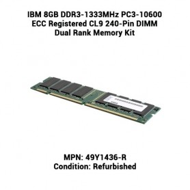 IBM 8GB DDR3-1333MHz PC3-10600 ECC Registered CL9 240-Pin DIMM Dual Rank Memory Kit