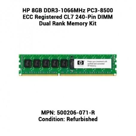 HP 8GB DDR3-1066MHz PC3-8500 ECC Registered CL7 240-Pin DIMM Dual Rank Memory Kit
