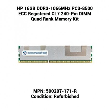 HP 16GB DDR3-1066MHz PC3-8500 ECC Registered CL7 240-Pin DIMM Quad Rank Memory Kit