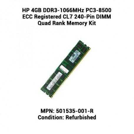 HP 4GB DDR3-1066MHz PC3-8500 ECC Registered CL7 240-Pin DIMM Quad Rank Memory Kit
