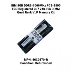 IBM 8GB DDR3-1066MHz PC3-8500 ECC Registered CL7 240-Pin DIMM Quad Rank VLP Memory Kit