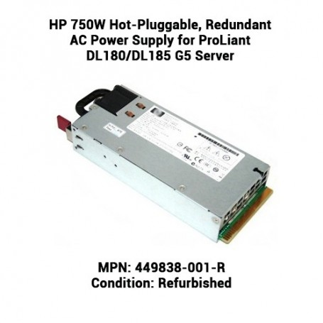 HP 750W Hot-Pluggable, Redundant AC Power Supply for ProLiant DL180/DL185 G5 Server