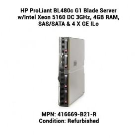 HP ProLiant BL480c G1 Blade Server w/Intel Xeon 5160 DC 3GHz, 4GB RAM, SAS/SATA & 4 X GE ILo